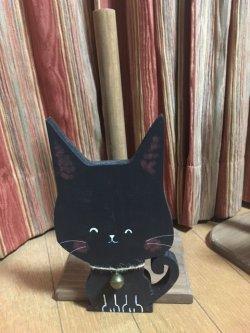 画像1: キッチンペーパーホルダー・黒ネコ